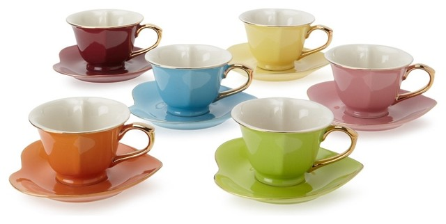 Classic Coffee amp Tea Inside Out Heart Cups Saucers