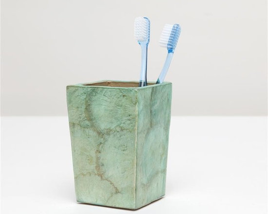 Andria Brush Holder - What lust-worthy luster! The fan-like pattern of whole capiz shell overlay brings a subtle shimmering elegance to our Andria collection. Choose from three finishes: smoked, pearlized, or aqua.
