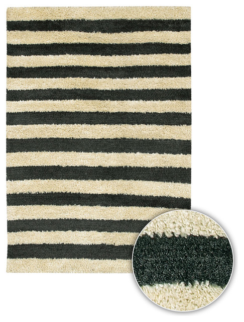 Black And White Striped Rug From India 39 Strata