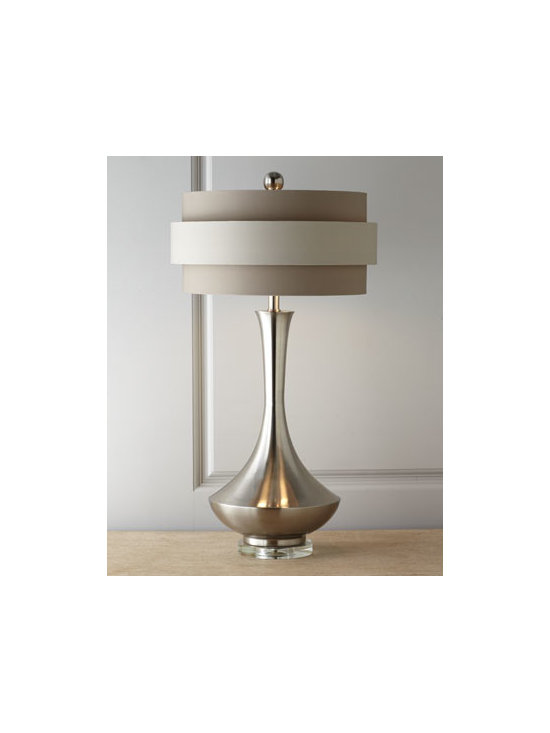 John-Richard Collection - John-Richard Collection Neutral Orbit-Shade Table Lamp - Ultra-contemporary table lamp has an urn-shaped body on a clear acrylic base topped by a double-banded orbit shade in tonal neutrals crowned by a silver-tone sphere. From John-Richard Collection. Handcrafted of polished steel. Orbit-style linen shade....