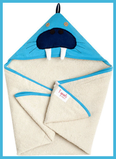 3 Sprouts Hooded Towel, Walrus Blue eclectic-kids-towels