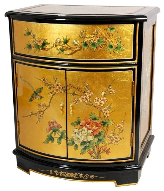 Gold Leaf Round Front Shoe Cabinet  Traditional  Storage Cabinets