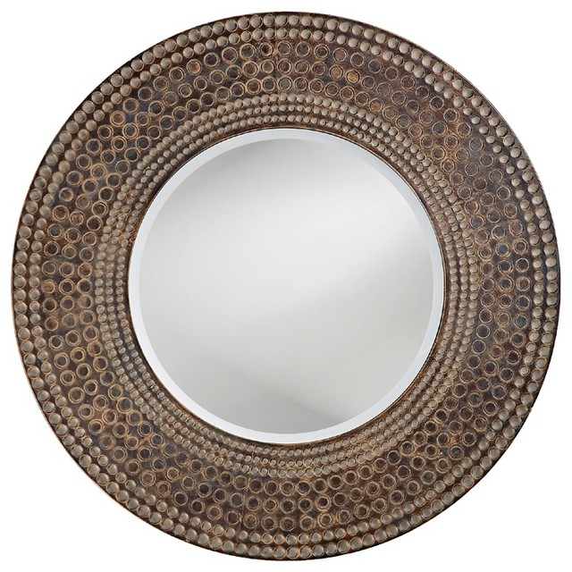 "Contemporary Antique Oak and Maple Finish Round 35"" Wide Wall Mirror contemporary-mirrors"