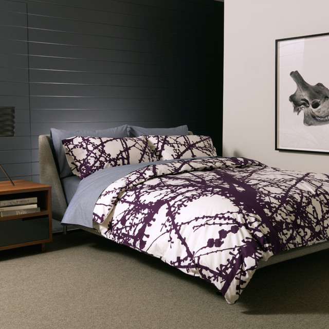 Unison Larch Bedding in Plum - King Duvet modern duvet covers