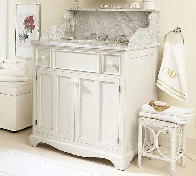 Lucca High Backsplash Single Sink Console Antique White Traditional Bathroom Vanity Units
