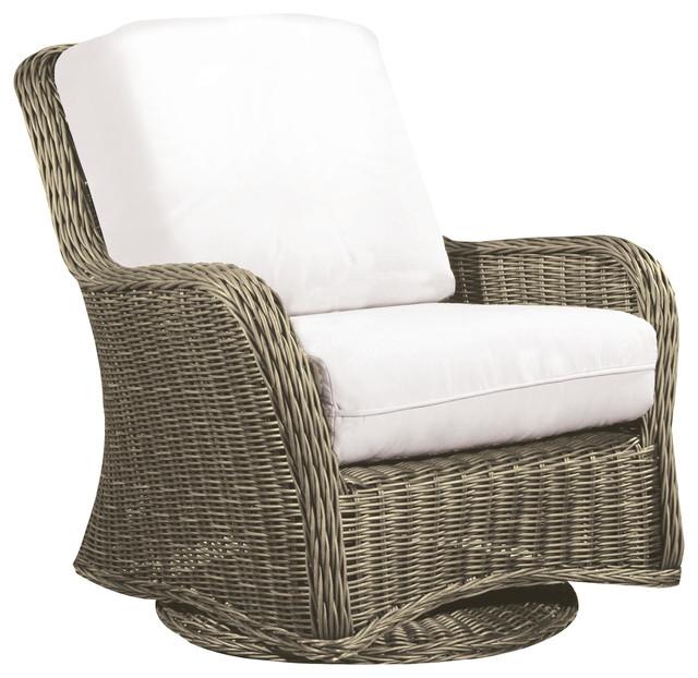 Outdoor Wicker Glider Sofa: Hauser Coastal Glider All Weather Wicker Club Chair With