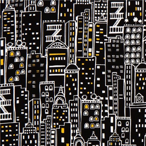 Black Designer Fabric With City Skyscraper New York Fabric By ModeS Group