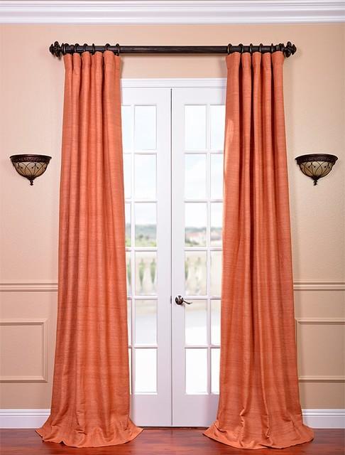 Terracotta Curtain Panels : Terracotta raw silk curtain contemporary curtains