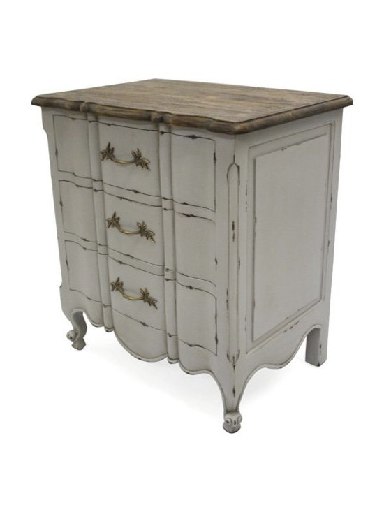 Chichi Furniture Exclusives. - A charming French rustic bedside table. Finished in pale French grey with light distressing and fetauring our classic rustic top surface.