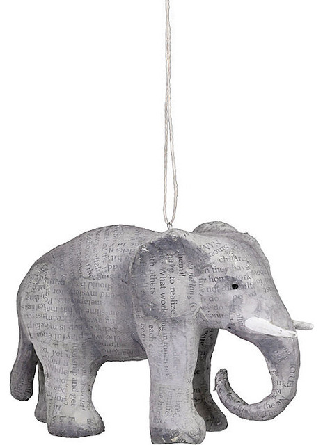 Paper Mache Elephant Holiday Ornament eclectic holiday decorations