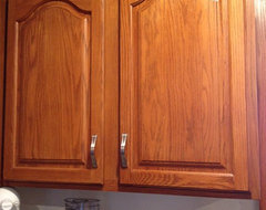 Paint cabinets and glaze(grey with a white glaze will look cerused) if ...