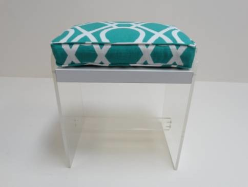 Vintage Lucite Stool With Turquoise Fabric Modern