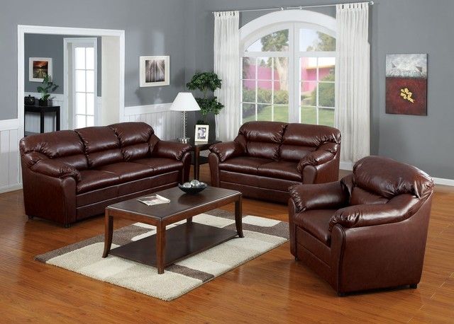 acme furniture connell brown bonded leather match 3 pc sofa set af 15150 set modern. Black Bedroom Furniture Sets. Home Design Ideas