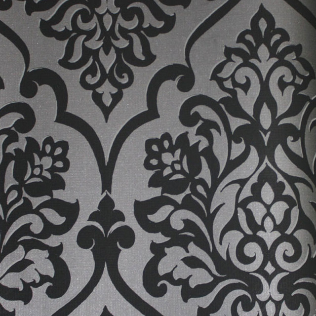 Astek mood living nino black and dark grey damask for Black and grey wallpaper designs