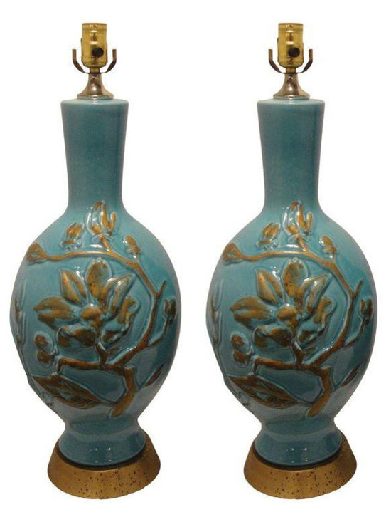 1970's Turquoise & Brass Lamps - Pair - Dimensions 32.0ʺW × 32.0ʺD × 26.0ʺH