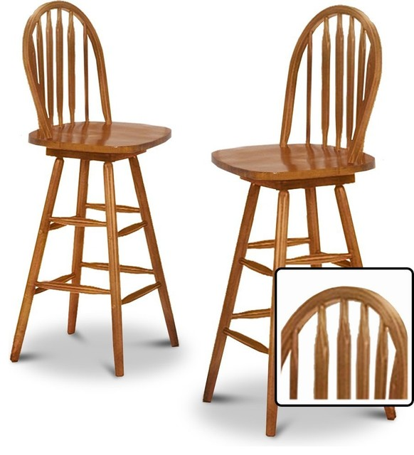 2 New Oak Finish Swivel Seat Arrow Back Bar Stools  : modern bar stools and counter stools from www.houzz.com size 582 x 640 jpeg 66kB