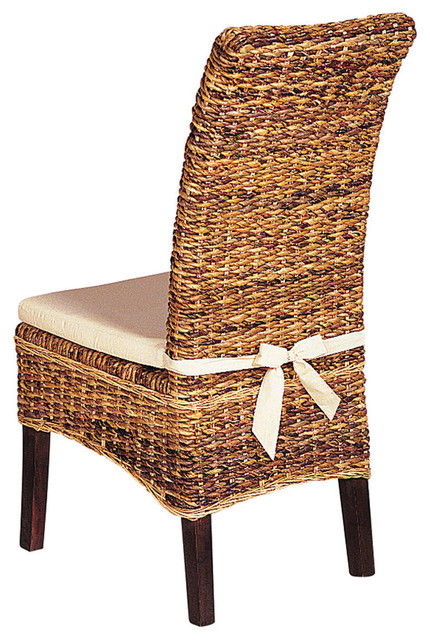 Banana leaf chair with cushion tropical dining chairs