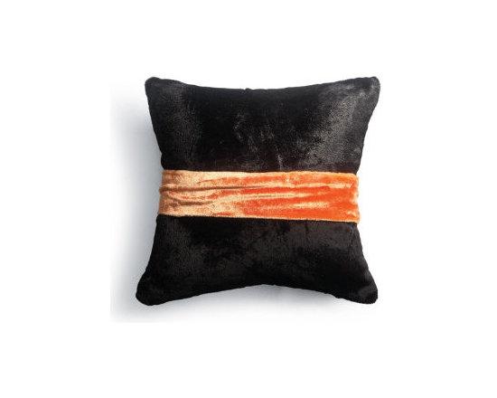 Grandin Road - Black Velvet Halloween Pillow with Sash in Orange -