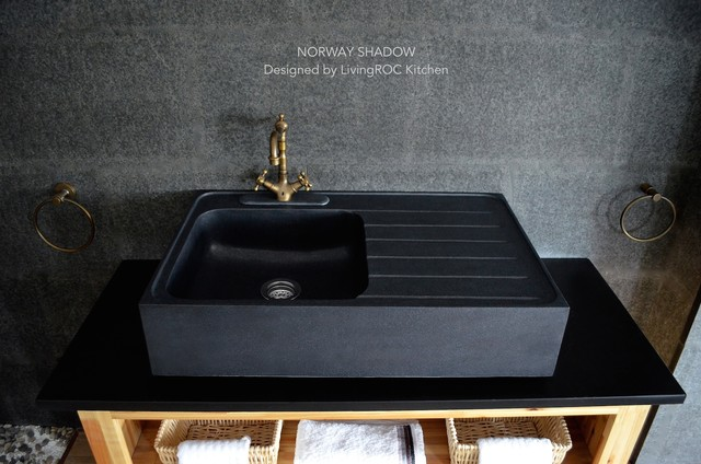BLACK GRANITE FARMHOUSE KITCHEN SINK NORWAY SHADOW craftsman kitchen