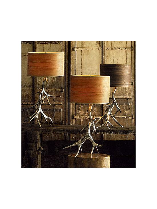 Aluminum Antler Lamp Bases With Wood Veneer Shades -