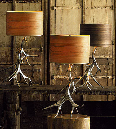 aluminum antler lamp bases with wood veneer shades eclectic table lamps by gi designs. Black Bedroom Furniture Sets. Home Design Ideas
