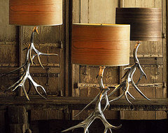 Aluminum Antler Lamp Bases With Wood Veneer Shades eclectic table lamps