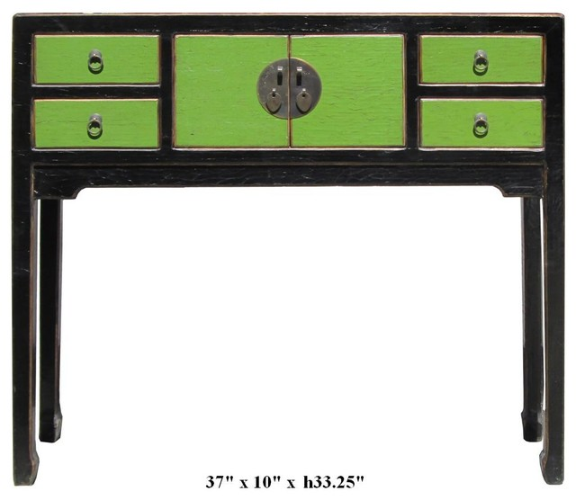 Rustic Green Color Solid Wood Narrow Console Altar Table