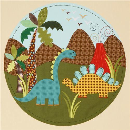 beige dinosaur panel fabric for boys Michael Miller fabric