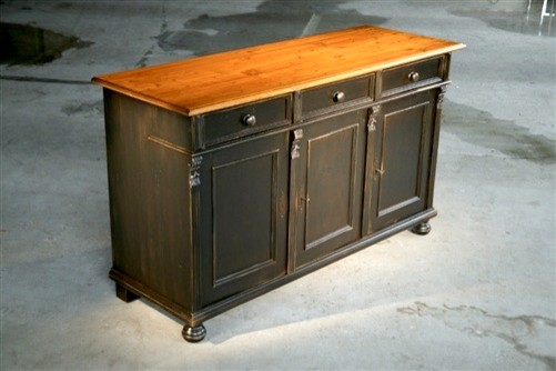 Painted Black Pine Wood Buffet - Farmhouse - Buffets And ...