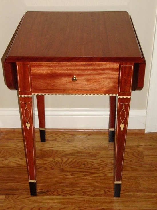 Pembroke Drop Leaf Table - Bubinga (African Rosewood) drop leaf Pembroke Table with Holly stringing and sand shaded Holly bell flowers.