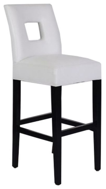 White Leather Padded Bar Stool - $400 Est. Retail - $150 on Chairish.com contemporary-bar-stools-and-counter-stools
