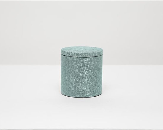 "Manchester Canister-Turquoise - Up your elegance and add an edge to your aesthetic with our striking faux shagreen Manchester collection. Each piece is crafted to highlight the natural ""eye"" pattern inspired by real shagreen, and topped with a wood veneer trim. Available in five colors, every set is hand-finished to bring out the highs and lows of each hue. Turn the page to see the Manchester in every color!"