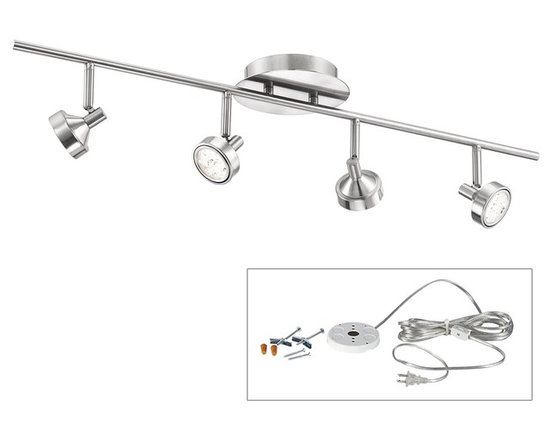 """ProTrack - Pro-Track® Tilden Four Head LED Plug-In Track Light - The Tilden LED Light by Pro-Track® offers sleek style with 4 lights and a brushed steel finish. Here it's been paired with an easy to use DIY kit that converts it into a plug-in light. You can mount it on the ceiling in places where you don't have a junction box or wall mount for use as a picture light or to illuminate hallways walk-in closets and more. The kit comes with a white finish electrical box that installs on the wall or ceiling; you then mount the LED fixture to the box plug-in and enjoy. Light has four 3 watt LEDs each comparable to a 25 watt incandescent bulb. Includes mounting hardware for drywall or wood installation.  Tilden Plug-In Wall or Ceiling LED Light.  Includes LED light and plug-in conversion kit.  Perfect for small spaces apartments.  Design by Pro-Track® Lighting.  Each light contains 3 watt LED.   Each comparable to a 25 watt incandescent bulb.  2700K color temperature.   15-foot clear plastic cord and plug.  White on-off cord switch.  Comes with mounting hardware; 2 toggle bolts and screws 2 wood screws 2 wire connectors.   32"""" wide.   Each is light 6 1/4"""" high."""