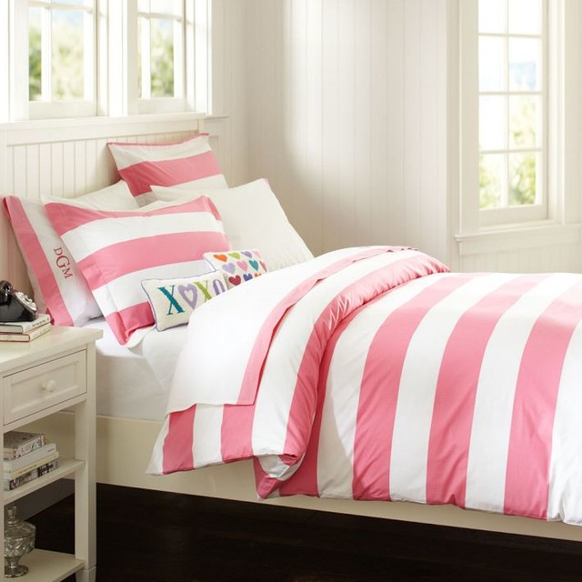 Cottage Stripe Duvet Cover Sham Bright Pink Duvet Covers And Duvet Sets Other Metro By