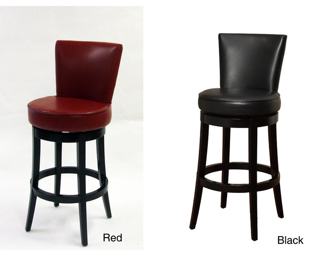 Bi-cast Leather/ Black Wood Swivel Barstool contemporary-bar-stools-and-counter-stools