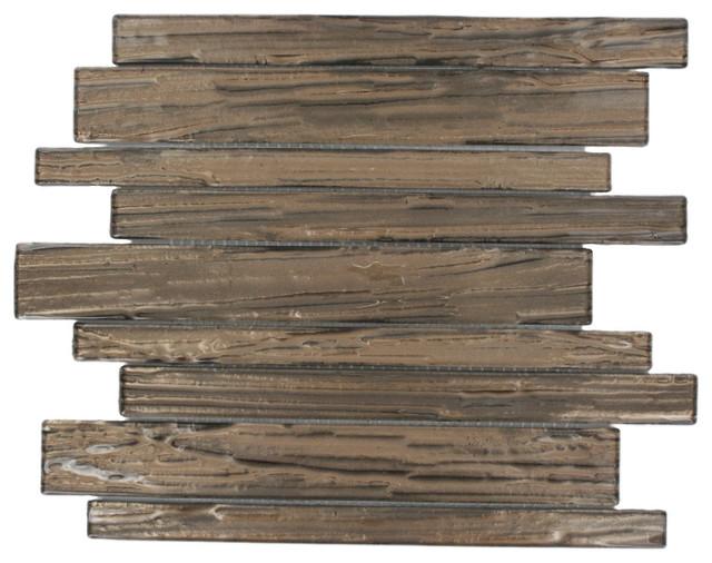 Terrene Copper Beech Planks Glass Tile contemporary-tile
