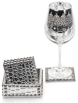 Everglades Coasters - Set of 4 Silver modern-wine-and-bar-tools