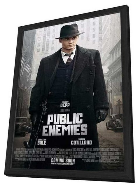Public Enemies 27 x 40 Movie Poster - Style E - in Deluxe Wood Frame prints-and-posters