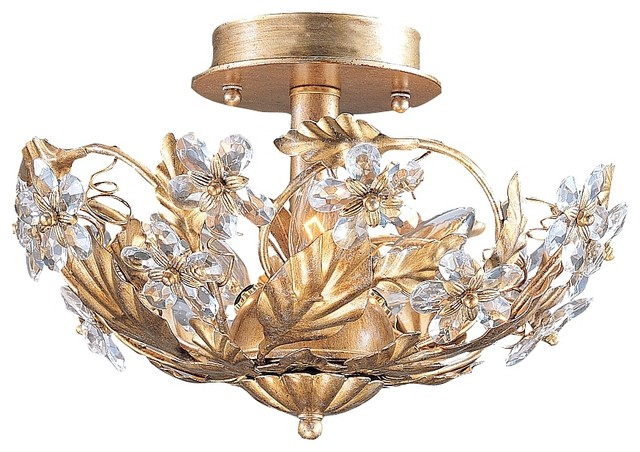 """Crystal Flowers 12"""" Wide Antique Gold Ceiling Light Fixture traditional-flush-mount-ceiling-lighting"""