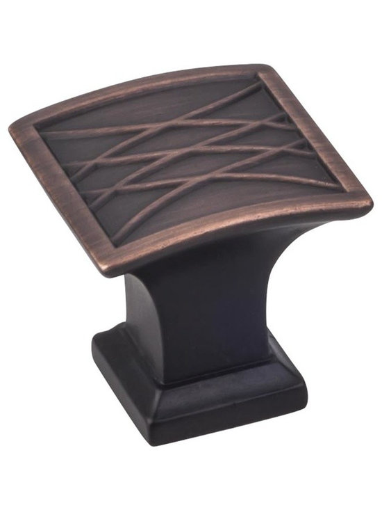 Jeffrey Alexander 535DBAC Cabinet Knob - Aberdeen Series - Brushed Oil Rubbed Br - This brushed oil rubbed bronze finish square cabinet knob with crossed line design is a part of the Aberdeen Series from Jeffrey Alexander. A perfect blend of craftmanship in traditional and contemporary design to complement any decor.