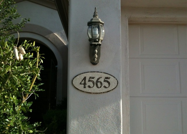 Handcrafted Marble Mosaic House Numbers mediterranean-house-numbers