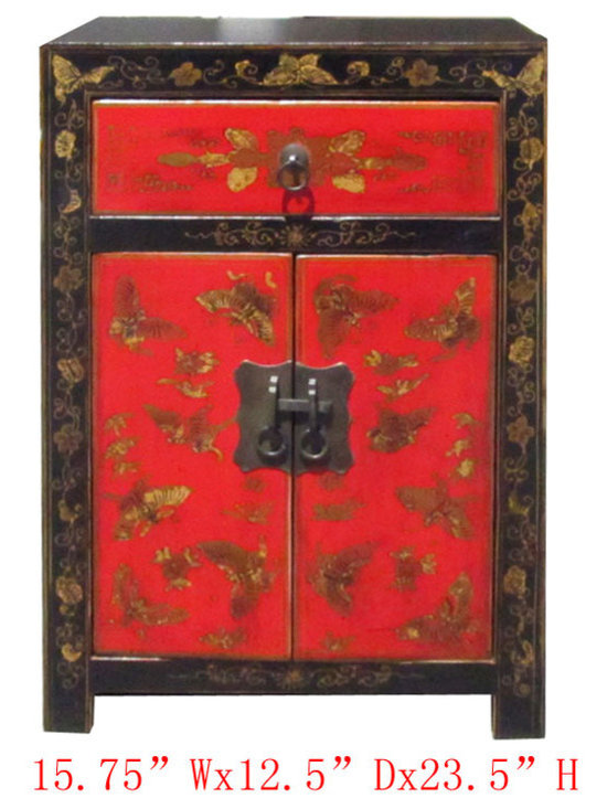 Chinese Black Red Gold Butterfly Painting Nightstand End Table Cabinet - Look at this Chinese nightstand end table which is made of solid elm wood. It comes with gold butterfly painting at the front of cabinet.
