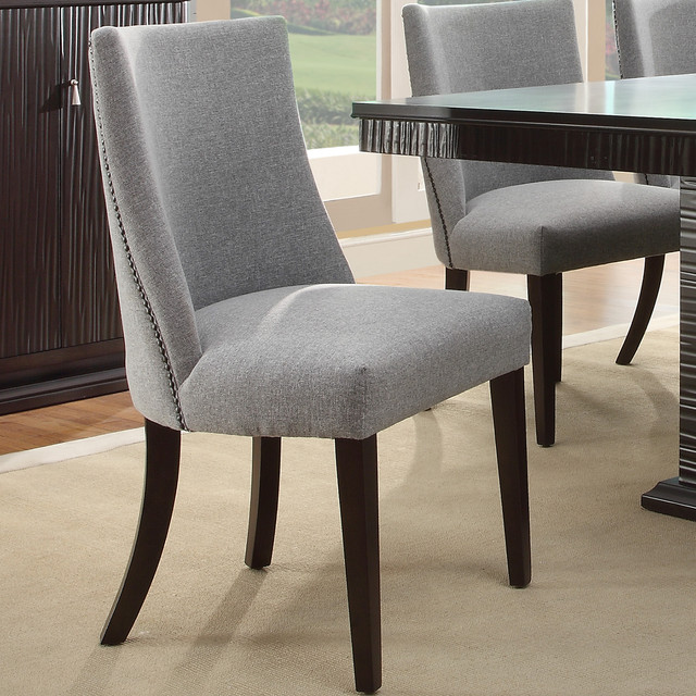 Tribecca home dominic grey curved nailhead upholstered for Upholstered dining chairs contemporary