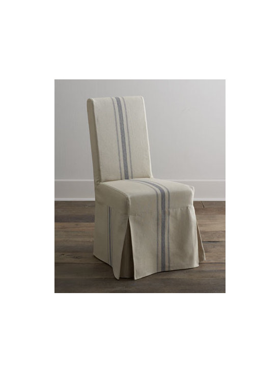 """Horchow - Two """"Westcreek"""" Corseted Side Chairs - Corseted side chair adds relaxed comfort to make dining a casual affair. Hardwood frame. Cotton/linen slipcover. 19""""W x 21.25""""D x 40""""T. Imported. Boxed weight, approximately 33 lbs. Please note that this item may require additional delivery and..."""