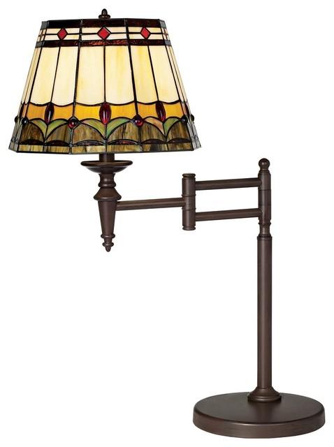 mission tiffany style bronze swing arm desk lamp modern table lamps. Black Bedroom Furniture Sets. Home Design Ideas