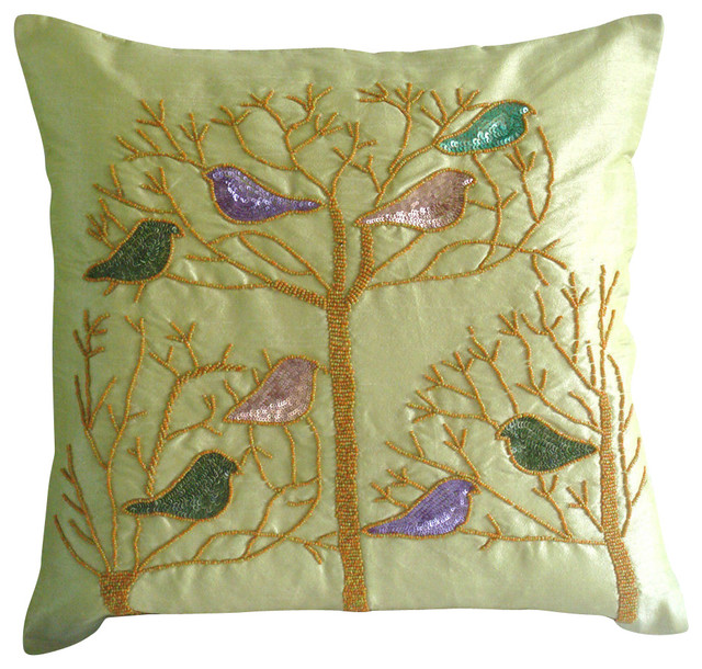 Green Silk Throw Pillow : Pigeon Love Decorative Lime Green Silk Throw Pillow Cover, 14x14 - Tropical - Decorative Pillows ...
