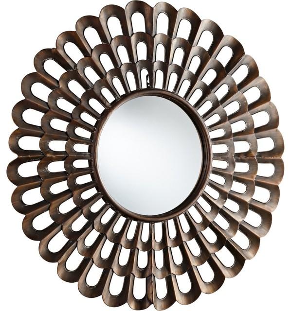 """Contemporary Agoura Bronze Finish 40"""" Wide Decorative Wall Mirror contemporary-wall-mirrors"""