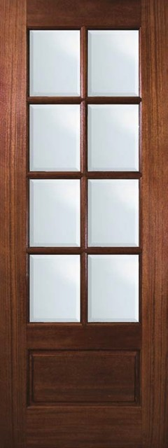 Slab house patio single door 96 mahogany 1 panel 8 lite for Single glass patio door