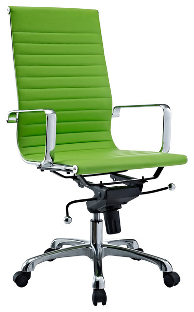 back chair in bright green vinyl modern office chairs by lexmod