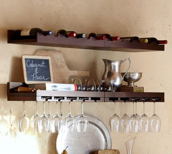 floating shelf for stemware and wine bottles http www. Black Bedroom Furniture Sets. Home Design Ideas